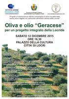 """Presentazione del progetto di """"Valorizzazione dell'olio extravergine di oliva di qualità della fascia jonica reggina con particolare riferimento all'area della Locride"""""""